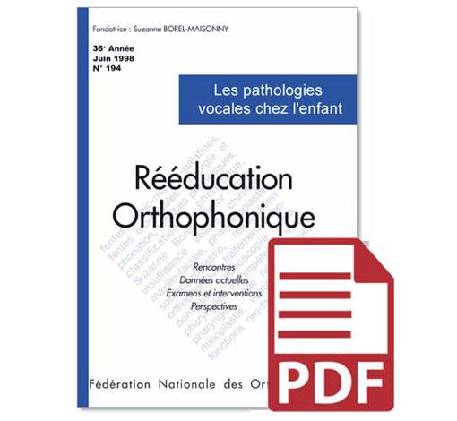 N° 194 - Les pathologies vocales chez l'enfant (pdf)