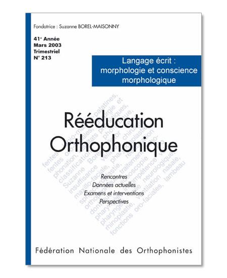 N° 213 - Langage écrit : morphologie et conscience morphologique