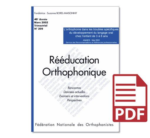 N° 209 - L'orthophonie dans les troubles spécifiques du développement du langage oral chez l'enfant de 3 à 6 ans (pdf)