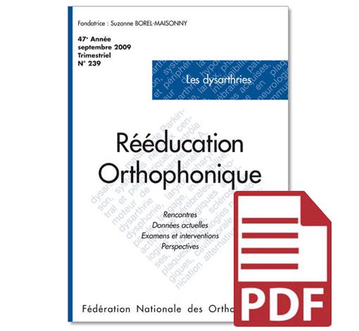 N° 239 - Les dysarthries (pdf)