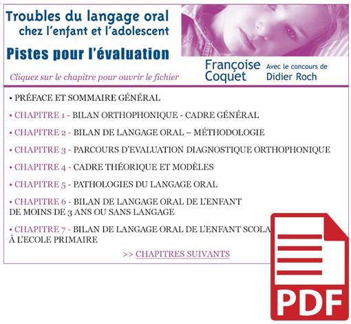 Troubles du langage oral chez l'enfant et l'adolescent - Pistes pour l'évaluation (pdf)
