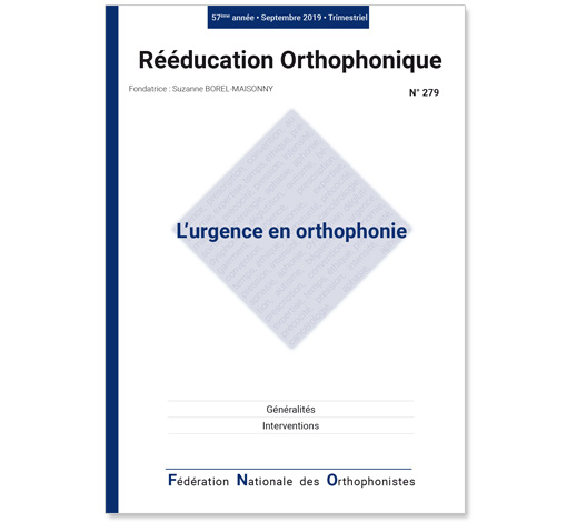 N° 279 - L'urgence en orthophonie